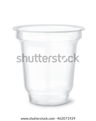 Disposable clear plastic cup isolated on white