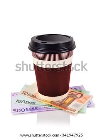 disposable coffee cup and euro banknotes, close up - stock photo