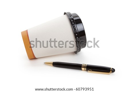 Disposable Coffee Cup and pen, concept of ideas,  Inspiration