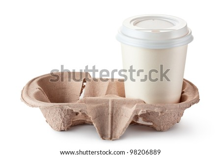 Disposable coffee cup in cardboard holder. Isolated on a white. - stock photo