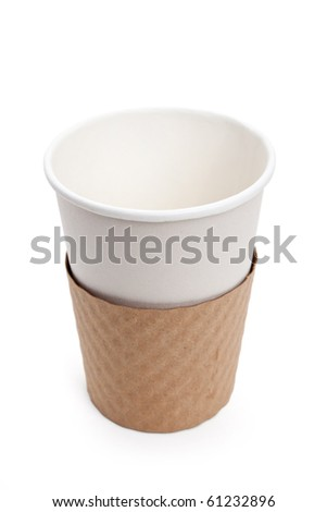 Disposable Coffee Cup with white background - stock photo