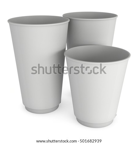 Disposable coffee cups. Blank paper mug. 3d render isolated on white background