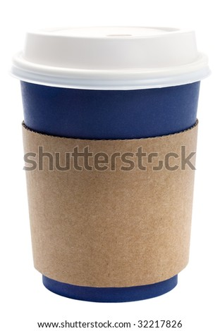 disposable coffee tea cup blue with white lid and brown termo holder, isolated on white - stock photo