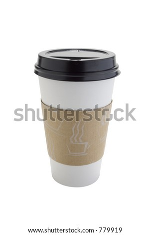 Disposable cot cup isolated on white with clipping path outline. - stock photo