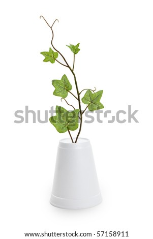 Disposable Cup and plant, concept of Environmental Conservation - stock photo