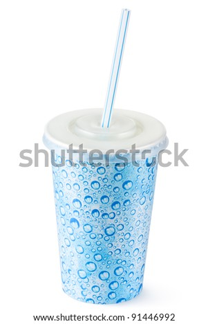 Disposable cup for beverages with straw. Isolated on a white. - stock photo