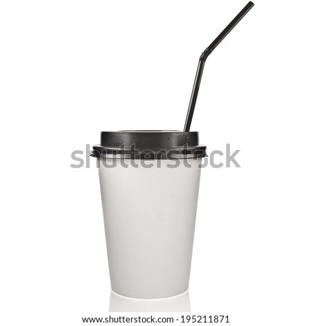 Disposable cup for hot drinks with black top and straw  isolated on white background