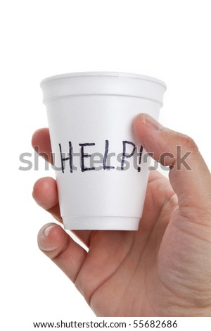 Disposable Cup, help, concept of Begging