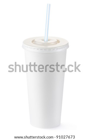 Disposable cup of big volume for beverages with straw. Isolated on a white. - stock photo