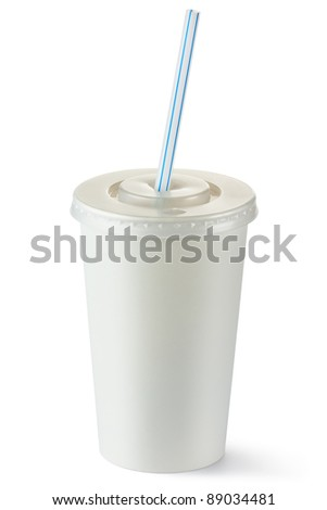 Disposable cup of middle volume for beverages with straw. Isolated on a white. - stock photo
