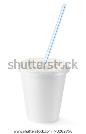 Disposable cup of small volume for beverages with straw. Isolated on a white.