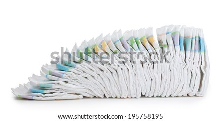 Disposable diapers,isolated on white background.