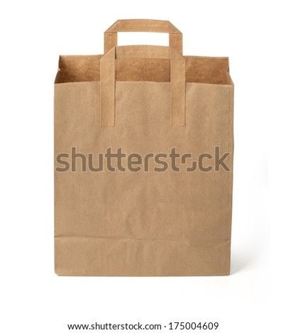 disposable paper bag on white background - stock photo