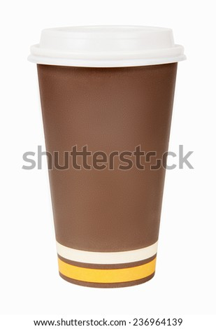 Disposable paper coffee cup isolated on white background - stock photo