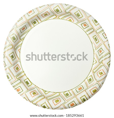 Disposable Paper Plate Over White Background - stock photo