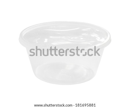 Disposable plastic bowl (with clipping path) isolated on white background - stock photo