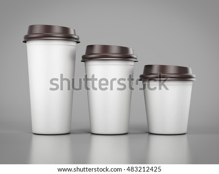 Disposable plastic cups of different sizes standing in a row. Mockup for your desig. 3d rendering
