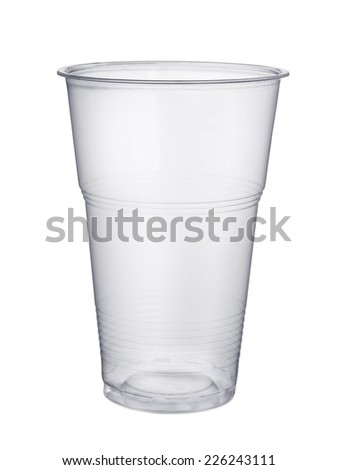 Disposable plastic pint glass isolated on white - stock photo