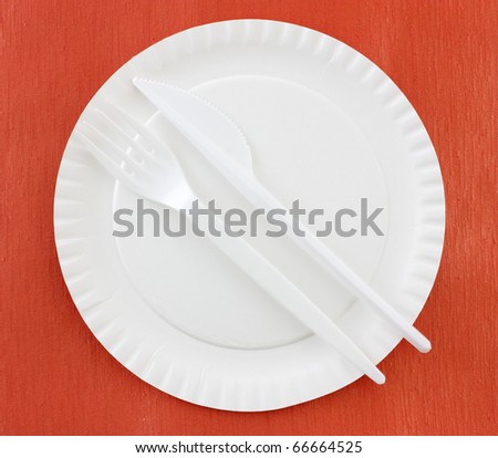 Disposable Plate, Fork and Knife - stock photo
