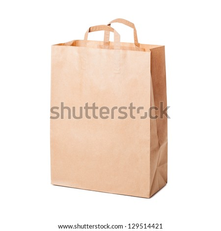 Disposable shopping paper bag isolated on white - stock photo