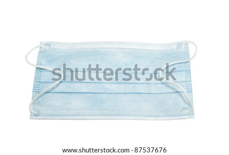 disposable sterile mask with soft elastic band on a white background - stock photo