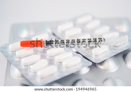 Disposable syringe on blister pack show medicine concept - stock photo