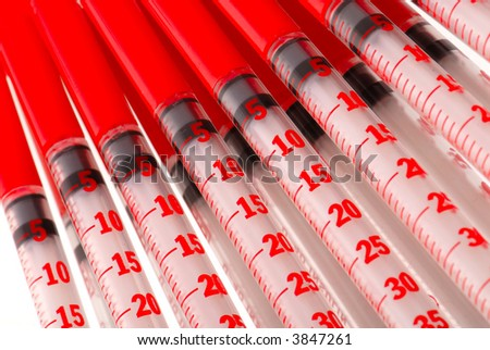 disposable syringes for injections  insulin, close-up - stock photo