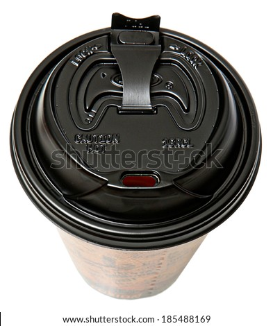 Disposable To Go Coffee Cup with Open Lid Over White - stock photo