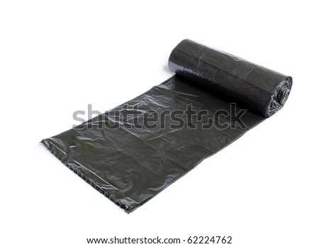 Disposable trash bag isolated over white background - stock photo