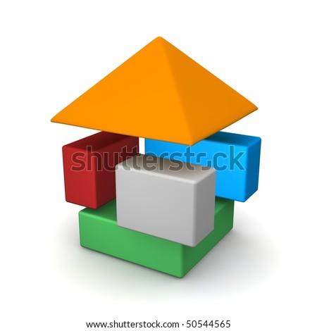 Dissasembled house. 3d rendered illustration. - stock photo