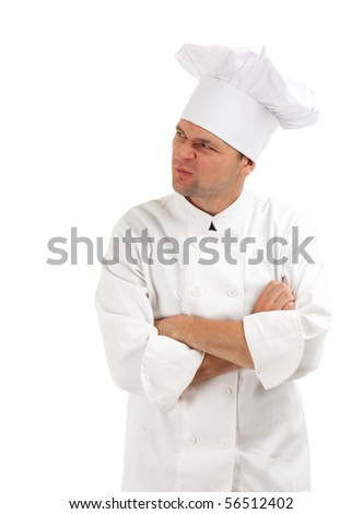 dissatisfied or angry cook in white uniform and hat - stock photo