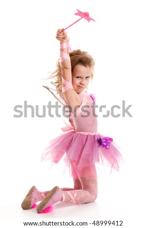 Dissatisfied with fairy on a white background - stock photo