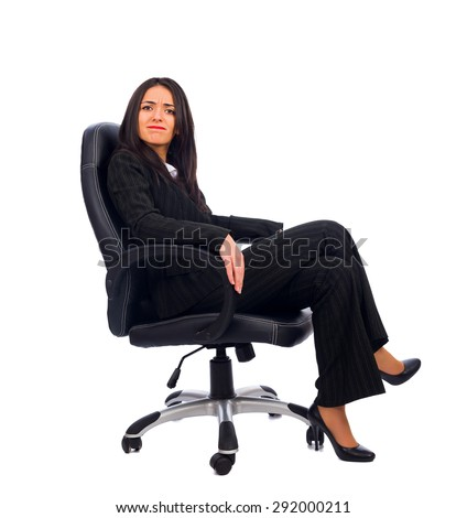 Dissatisfied woman boss saying no to the new idea. - stock photo