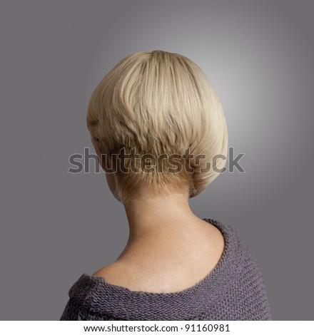 Dissymetric Hairstyle Real View Bob Haircut Stock Photo Royalty