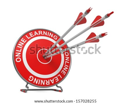 "Distance Learning - Education Concept. Three Arrows Hitting the Center of a Red Target, where is Written ""Online Learning""."