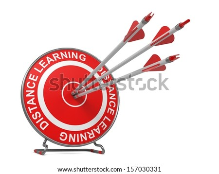 "Distance Learning - Education Concept. Three Arrows Hitting the Center of a Red Target, where is Written ""Distance Learning""."