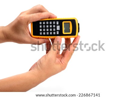 Distance Meter by Ultrasonic system in hand isolated on white - stock photo