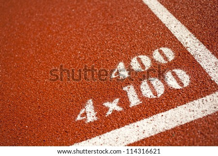 distance number, distance number on red rubber racetracks