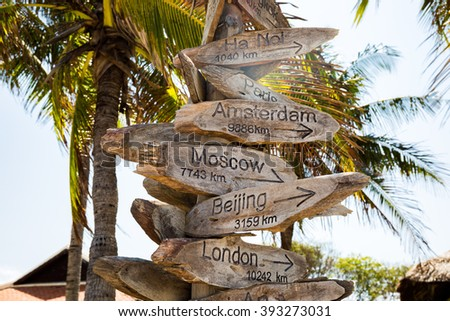 Distance sign on the beach, destinations concept