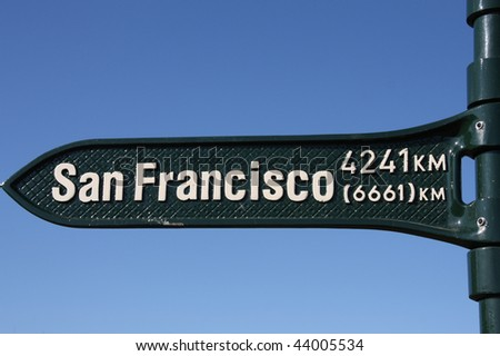 Distance sign, showing direction to San Francisco. - stock photo
