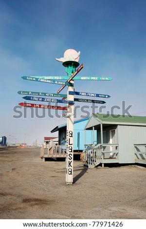 Distance Signpost in Barrow, Alaska - stock photo