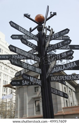 Distances to interesting parts of the World. - stock photo