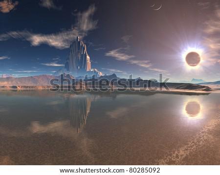 Distant Alien City at Lunar Eclipse - stock photo