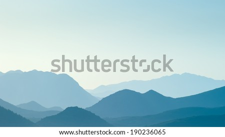 Distant blue hills in distance - stock photo