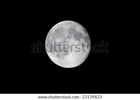 Distant detailed full moon far off in the cosmos. - stock photo