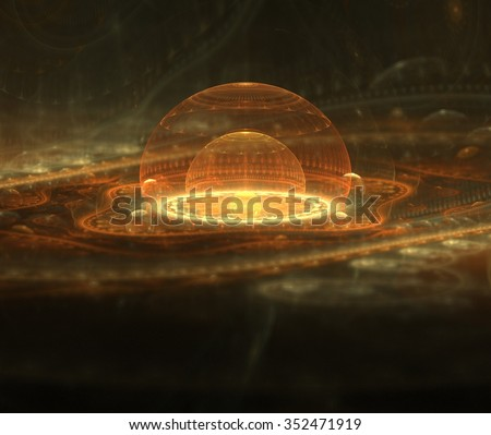 Distant Galaxy Fractal Image - stock photo