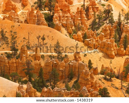 Distant hikers on a switchback trail in Bryce Canyon National Park