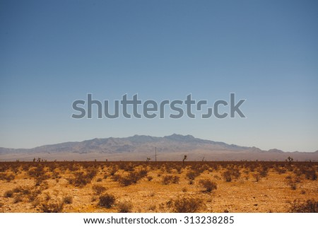 Distant mountain chain in the state of nevada - stock photo