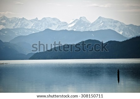Distant mountains, Harrison Lake, British Columbia - stock photo