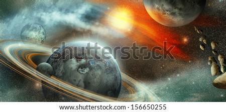 Distant planet in space with lots of rings and one moon for orbit the planet. And the asteroid away - stock photo